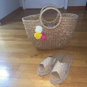 Universal Thread Flatform Straw Sandals